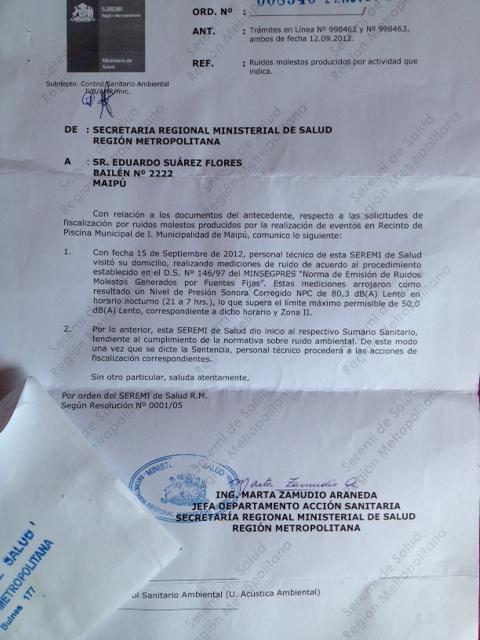 Carta Seremi SAlud